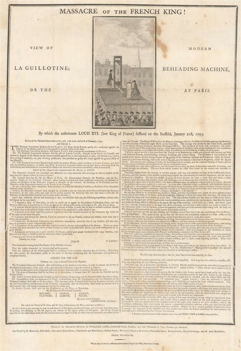 1793 British Broadside Decrying the Execution of French King Louis XVI