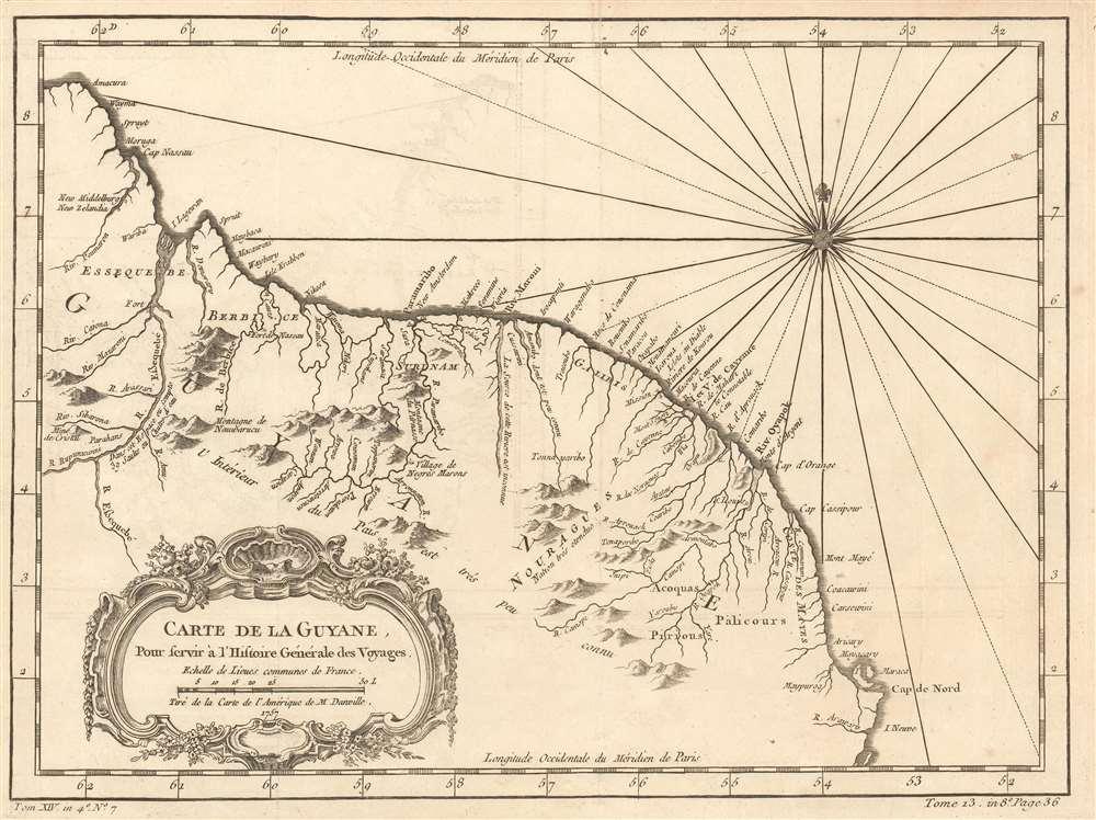 Carte de la Guyane. Pour servir á l'Histoire General des Voyages.