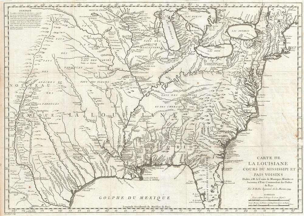 Carte de La Louisiane Cours du Mississipi et Pais Voisins.