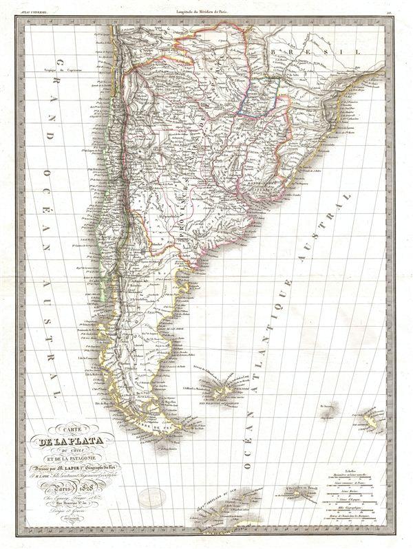 Carte de la Plata de Chili et de la Patagonie.