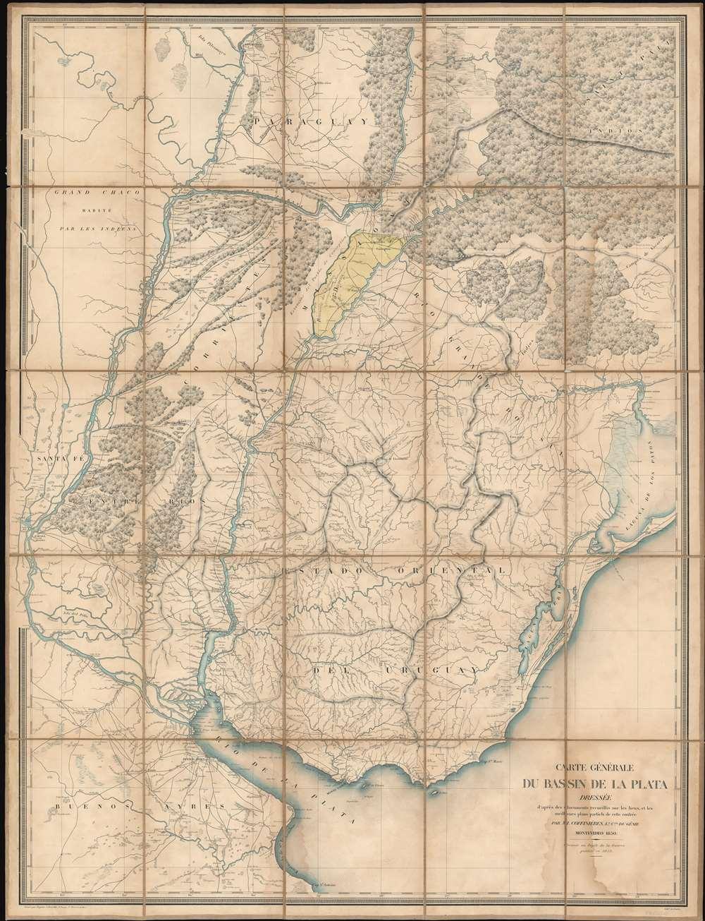 Carte Générale du Bassin de La Plata Dressée d'après des documents recueillis sur les lieux, et les milleurs plans partiels de cette contrée par m. Coffinières, Lt. Cnel. du Génie. - Main View