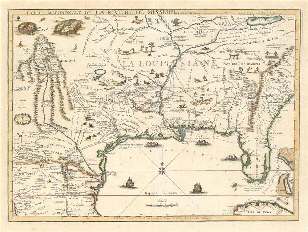1718 De Fer Map of the Mississippi River Valley