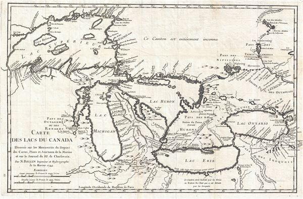 Carte des Lacs du Canada Dresse sur les Manuscrits du Depost des Carts, Plans et Journaux de la Marine et sur le Journal de RP. De Charlevoix. - Main View
