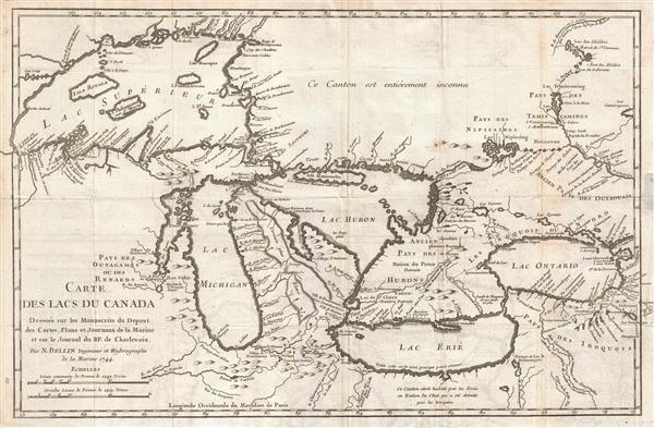 Carte des Lacs du Canada Dresse sur les Manuscrits du Depost des Carts, Plans et Journaux de la Marine et sur le Journal de RP. De Charlevoix.