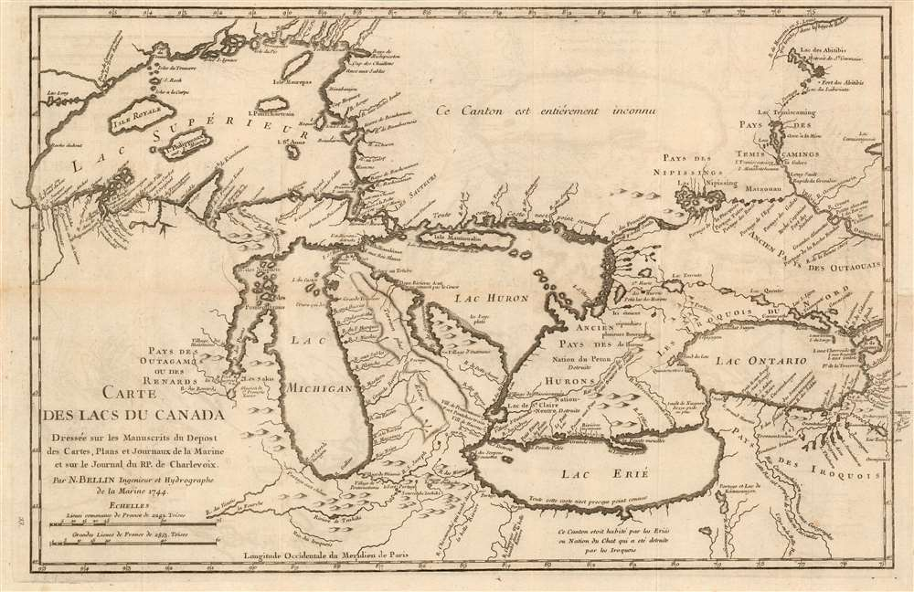 1744 Bellin-Charlevoix Map of the Great Lakes (a seminal map)