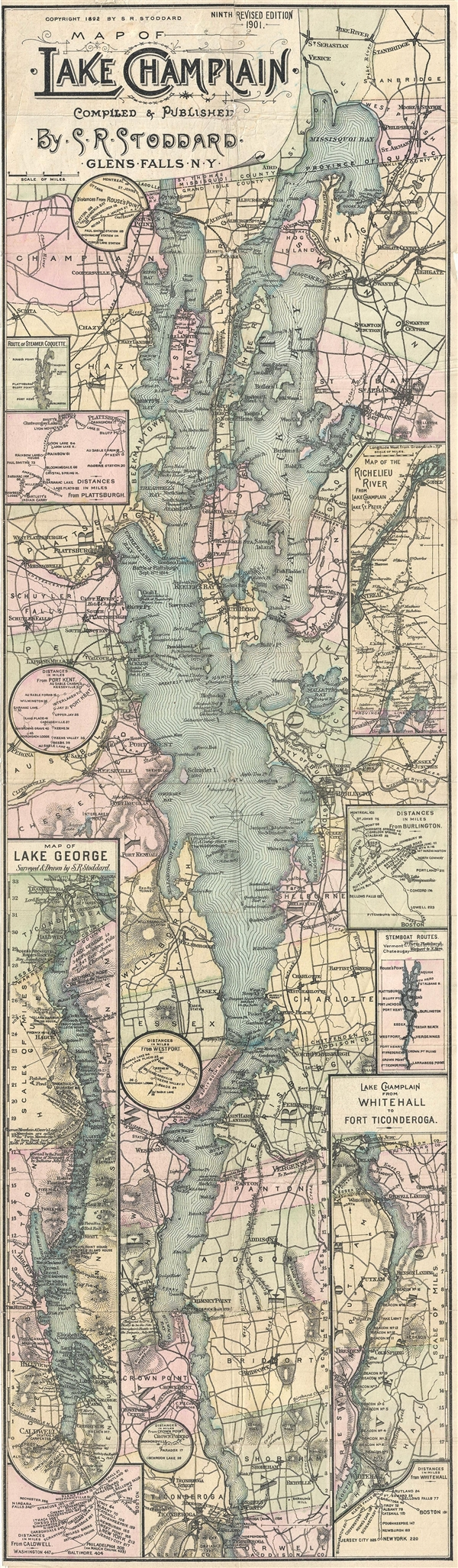 Map of Lake Champlain.  Compiled & Published by S. R. Stoddard.  Glens Falss, NY.
