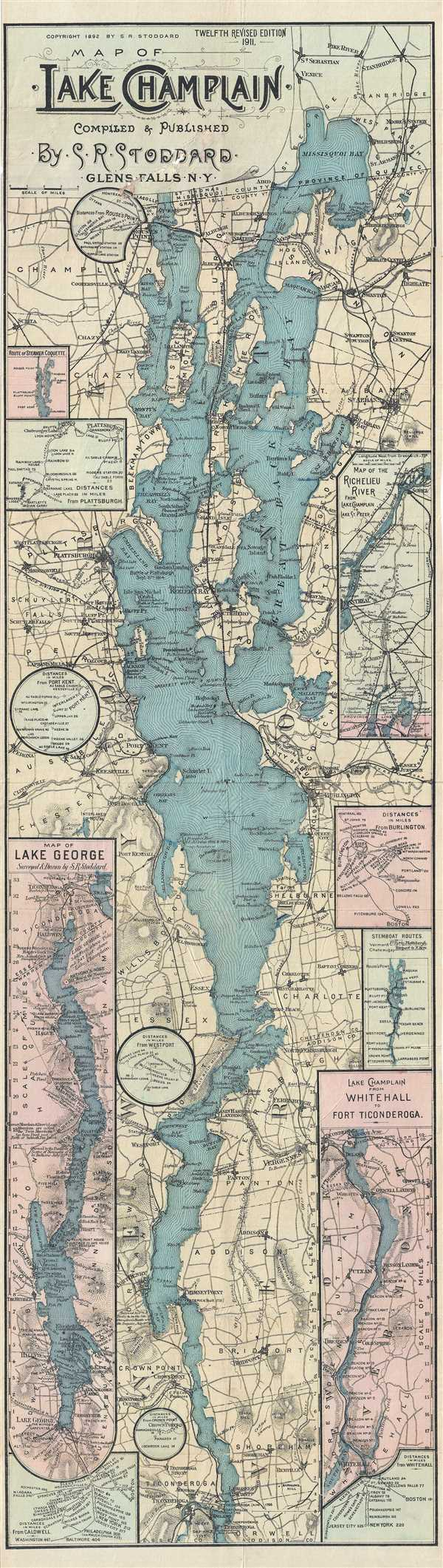 Map of Lake Champlain.  Compiled & Published by S. R. Stoddard.  Glens Falls, NY.