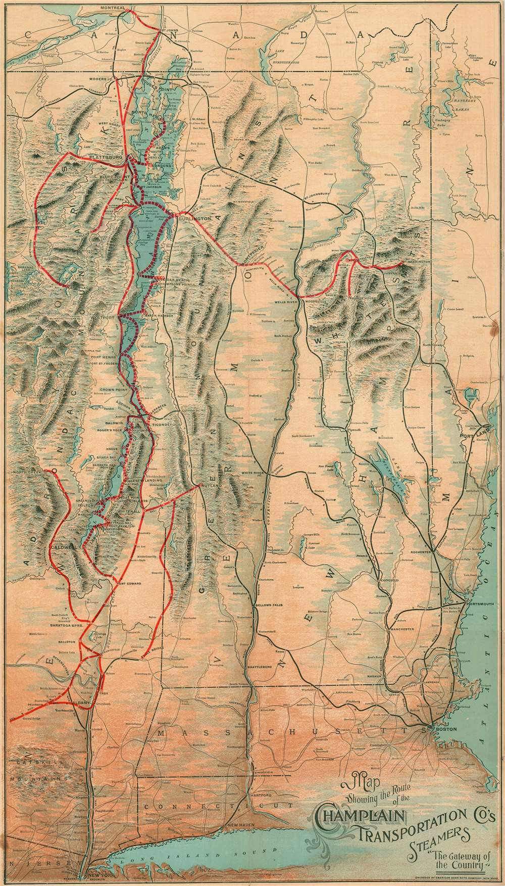 Showing the Route of the Champlain Transportation Co's Steamers.  The Gateway of the Country. - Main View