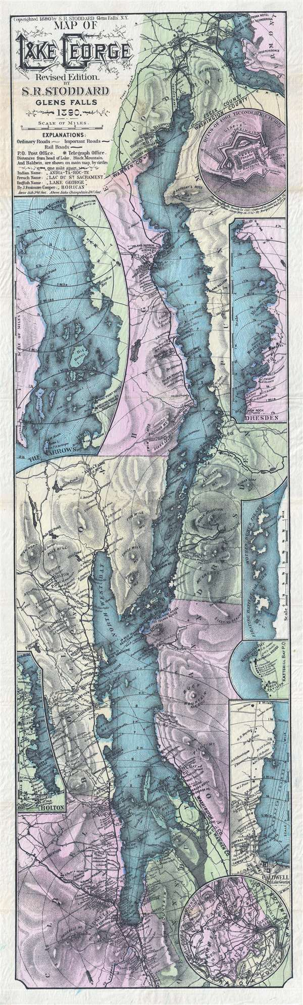1890 Stoddard Map of Lake George, New York