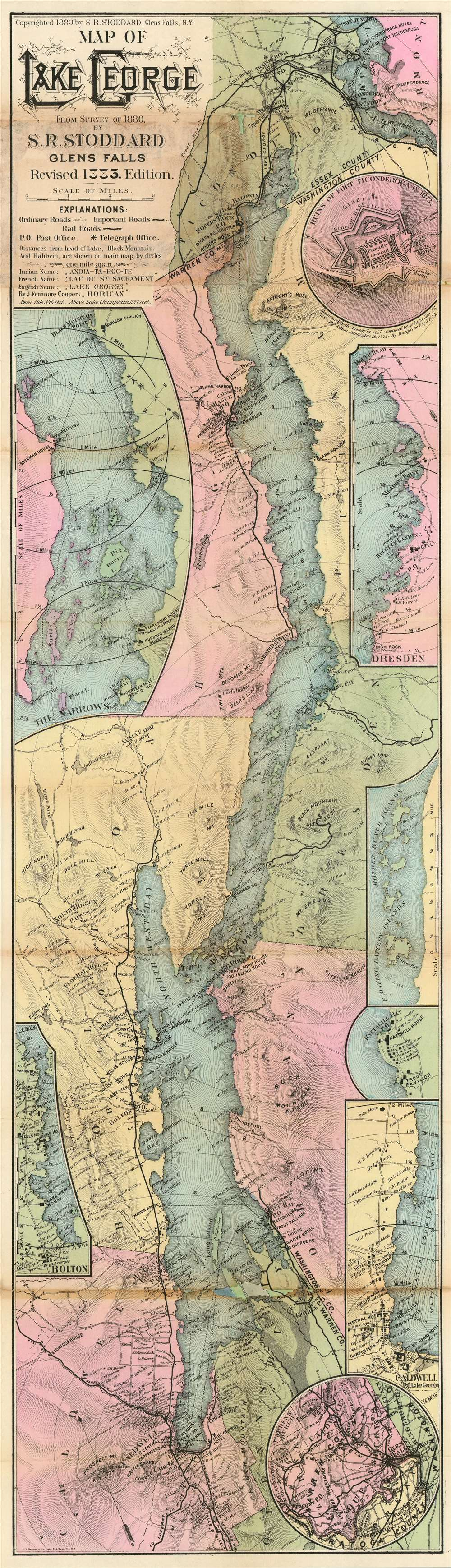 1883 Stoddard Map of Lake George, New York