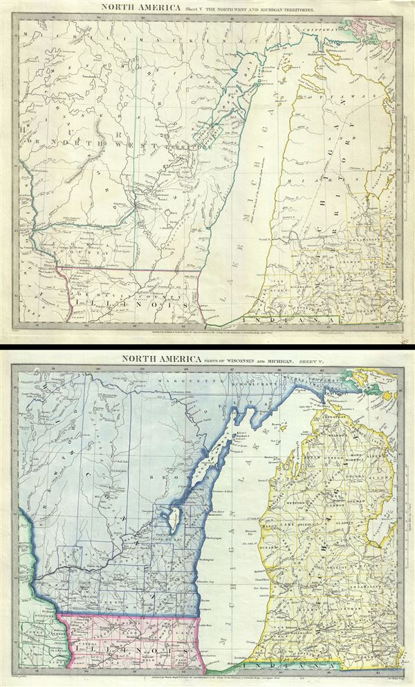North America Sheet V The North West and Michigan Territories.  North America Parts of Wisconsin and Michigan.  Sheet V.