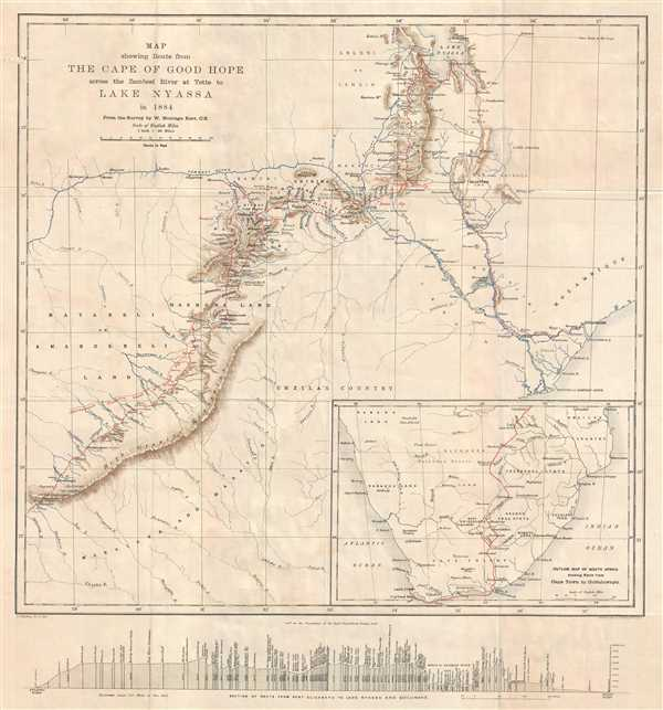 Map Showing Route from the Cape of Good Hope across the Zambesi River at Tette to Lake Nyassa in 1884.