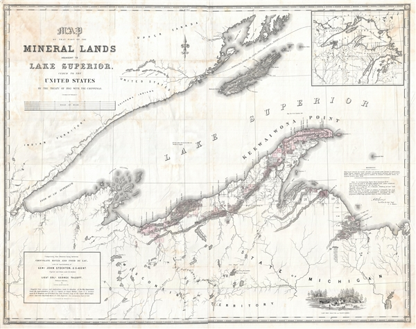 Map of that Part of the Mineral Lands adjacent to Lake Superior, ceded to the United States by the Treaty of 1842 with the Chippewas.  Comprising that District lying between Chocolate River and Fond du Lac, under the superintendency of Genl. John Stockton, U.S. Agent.