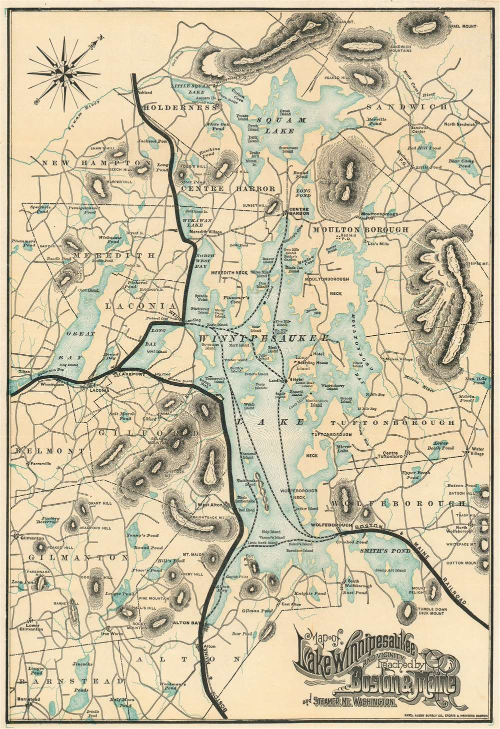 Map of Lake Winnipesaukee and Vicinity Reached by Boston and Maine R.R. and Steamer Mt. Washington. - Main View