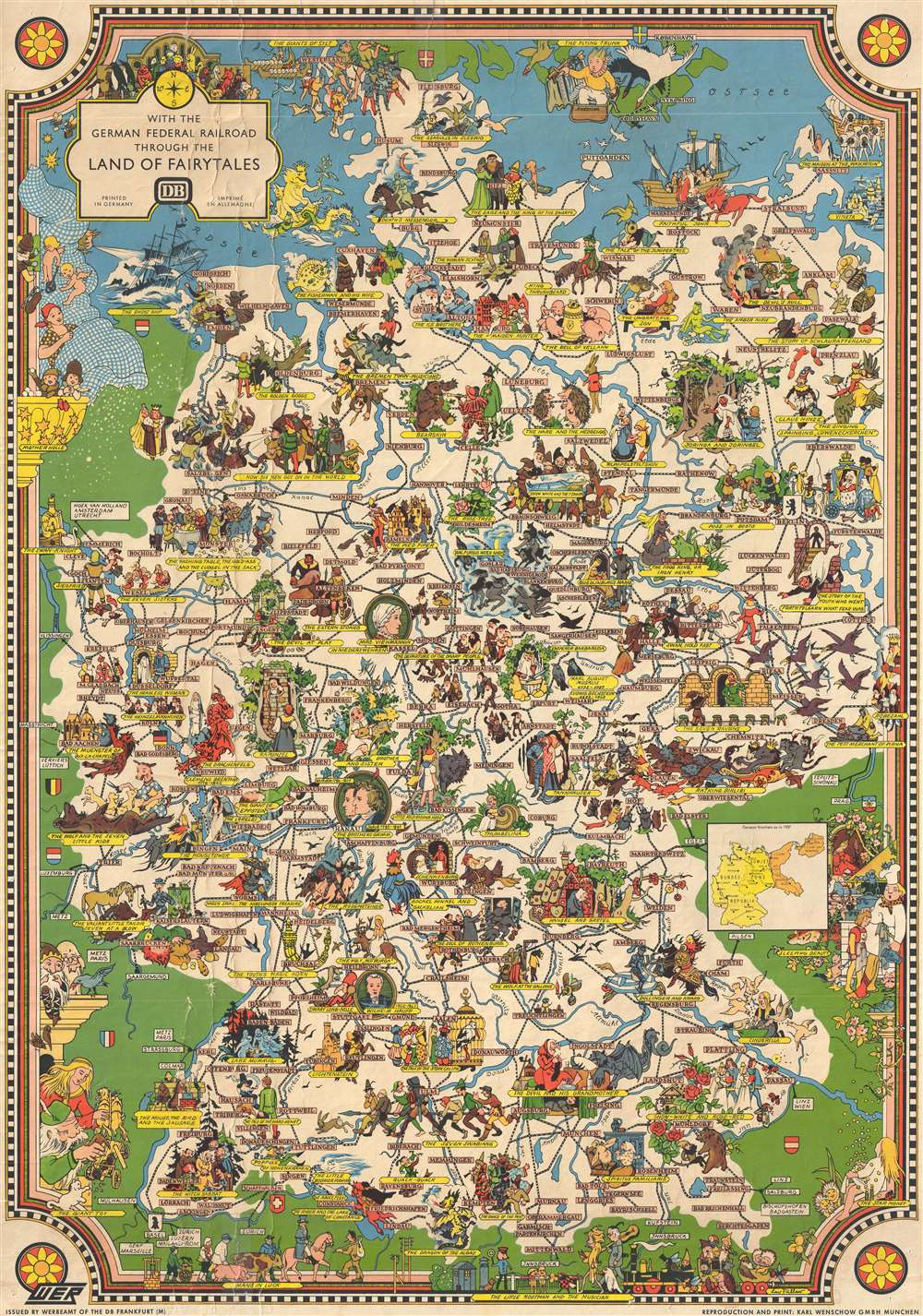 1960 Faller Pictorial Map of Germany as Fairytale Land