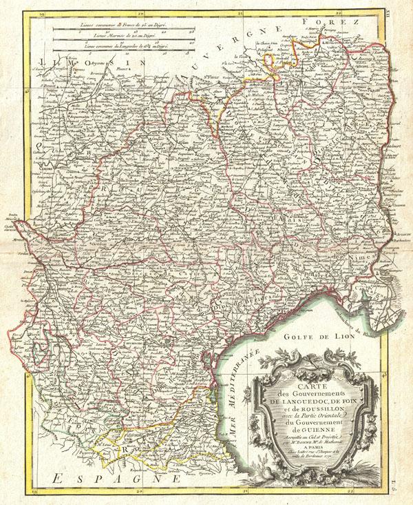 Carte des Gouvernements de Languedoc, de Foix et de Roussillon avec la Partie Oriental du Gouvernement de Guinne. - Main View
