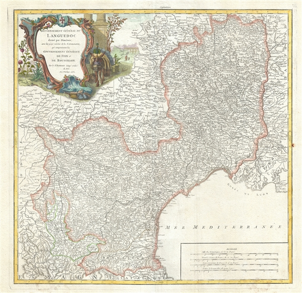 Gouvernement General du Languedoc divise par Dioceses, avec les pays voisins de la Catalogne, qui comprennent les Gouvernemens Generaux de Foix et de Rousillon.