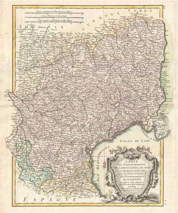 Carte des Gouvernements de Languedoc, de Foix et de Roussillon avec la Partie Orientale du Gouvernement de Guinne.