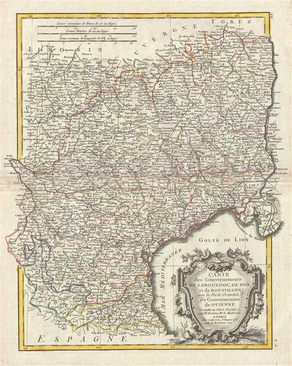 Carte des Gouvernements de Languedoc, de Foix et de Roussillon avec la Partie Oriental du Gouvernement de Guinne.