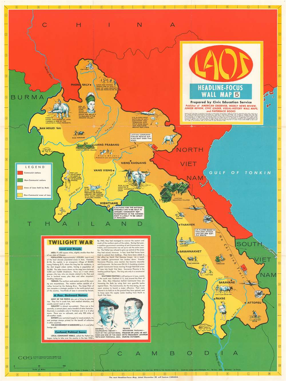 1966 Civic Education Service Pictorial Map of Laos During the Vietnam War