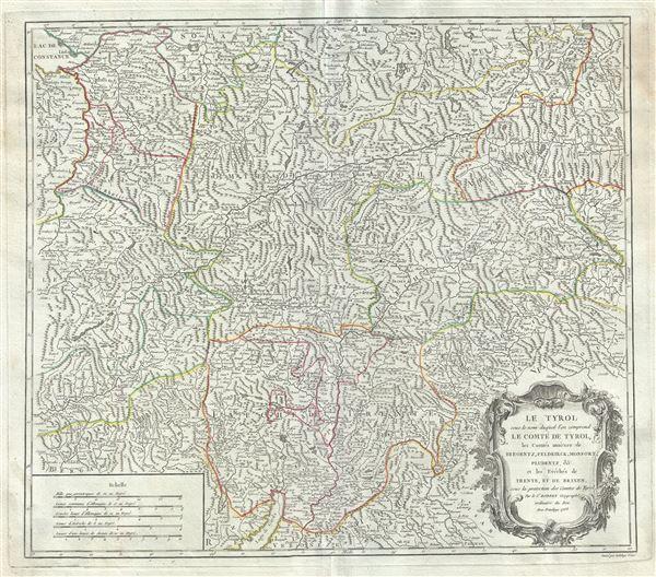 Le Tyrol sous le nom duq'uel l'on comprend le Comte de Tyrol, les Comtes annexes de Bregentz, Feldkirck, Monfort, Pludentz, etc., et les Eveches de Trente, et de Brixen, sous la protection des Comtes de Tyrol. - Main View