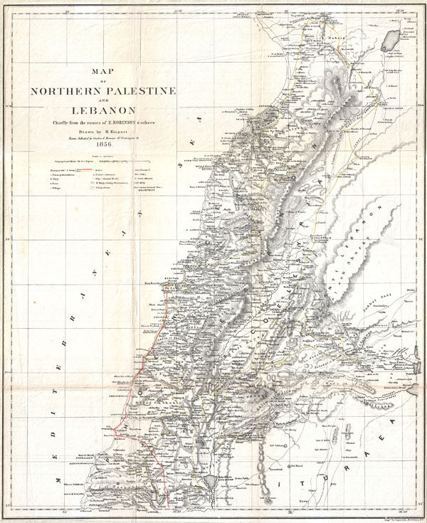 Map of Northern Palestine and Lebanon Chiefly from the Routes of E. Robinson & others.