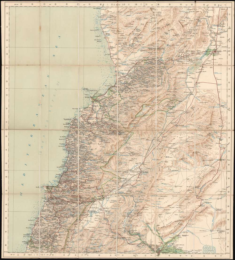 1910 War Office Map of Lebanon and Syria