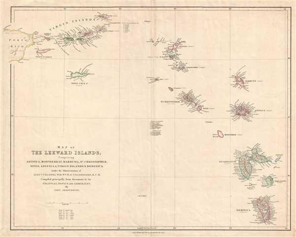 Map of the Leeward Islands; Comprising Antigua, Montserrat, Barbuda, St. Christopher, Nevis, Anguilla, Virgin Islands, and Dominica.