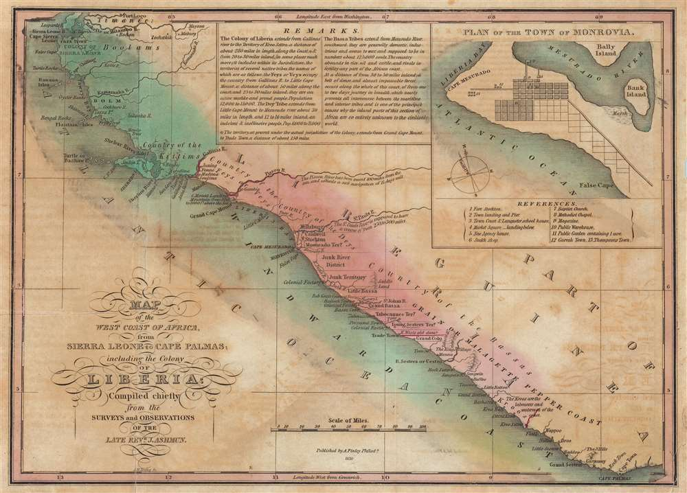 Map of the West Coast of Africa, from Sierra Leone to Cape Palmas; including the Colony of Liberia: Compiled chiefly from the surveys and observations of the Late Revd. J. Ashmun. - Main View