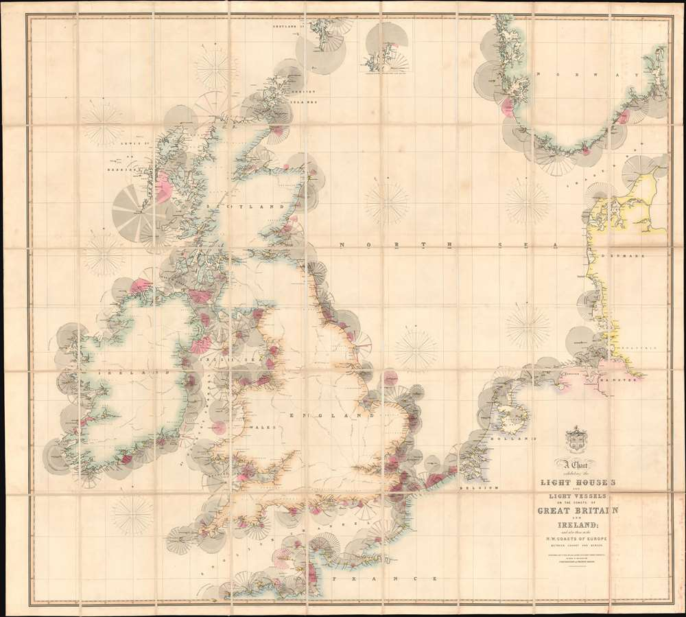 A Chart Exhibiting the Lighthouses and Light Vessels on the Coasts of Great Britain and Ireland and also those on the N.W. Coasts of Europe between Ushant and Bergen. Published by order of the Honble the Corporation of Trinity House, constructed by A. G Findlay. - Main View
