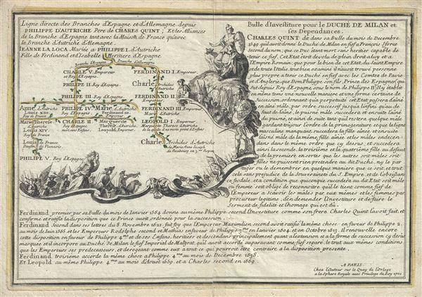 Ligne directe des branches d'Espagne et d'Allemagne depuis Philippe d'Autriche Pere de Charles Quint; Et les Alliances de la Branche d'Espagne tant avec la Maison de France qu'avec la Branche d'Autriche d'Alemagne.