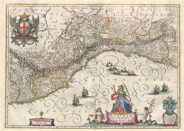 1646 Blaeu Map of Liguria or the Republic of Genoa, Italy