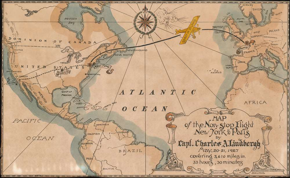1927 Lynas Map of the World Celebrating Lindbergh's Flight Across the Atlantic