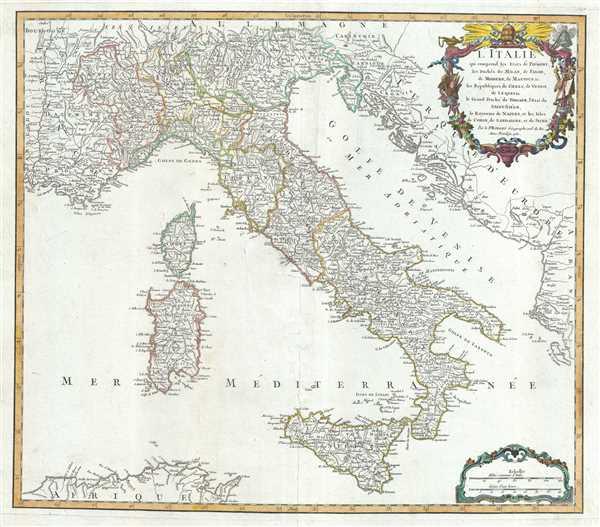 L'Italie qui comprend les Etats de Piemont, les Duches de Milan, de Parme, de Modene, de Mantoue etc., les Republiques de Genes, de Venise, de Luques etc., le Grand Duche de Toscane, l'Etat du Saint-Siege, le Royaume de Naples, et les Isles de Corse, de Sardaigne, et de Sicile.