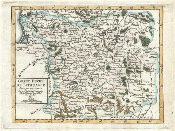 Grand Duché de Lithuanie divisé par Palatinats. Par le Sr. Robert de Vaugondy, Fils de Mr. Robert Geog. du Roi.