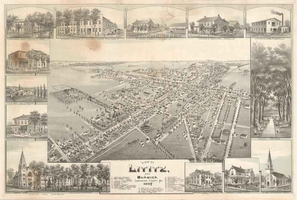 View of Lititz, and Warwick, Lancaster County PA. 1887. - Main View