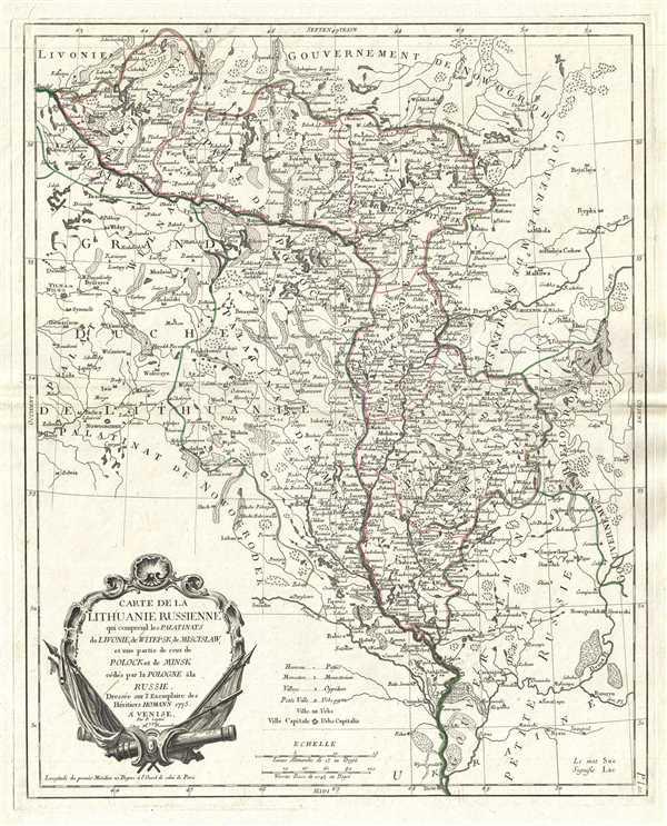Carte de la Lithuanie Russienne qui comprend les Palatinats de Livonie, de Witepsk, de Miscislaw, et une partie de ceux de Polock et de Minsk cédés par la Pologne à la Russie.