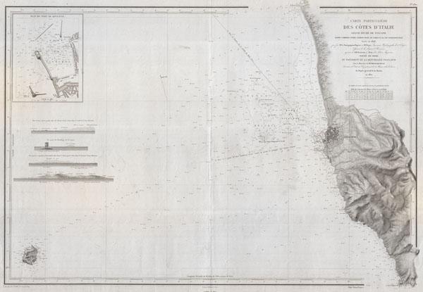 Carte Particuliere Des Cotes d'Italie Grand Duche de Toscane partie comprise entre l'embouchure de L'Arno et le Cap Castiglioncello.