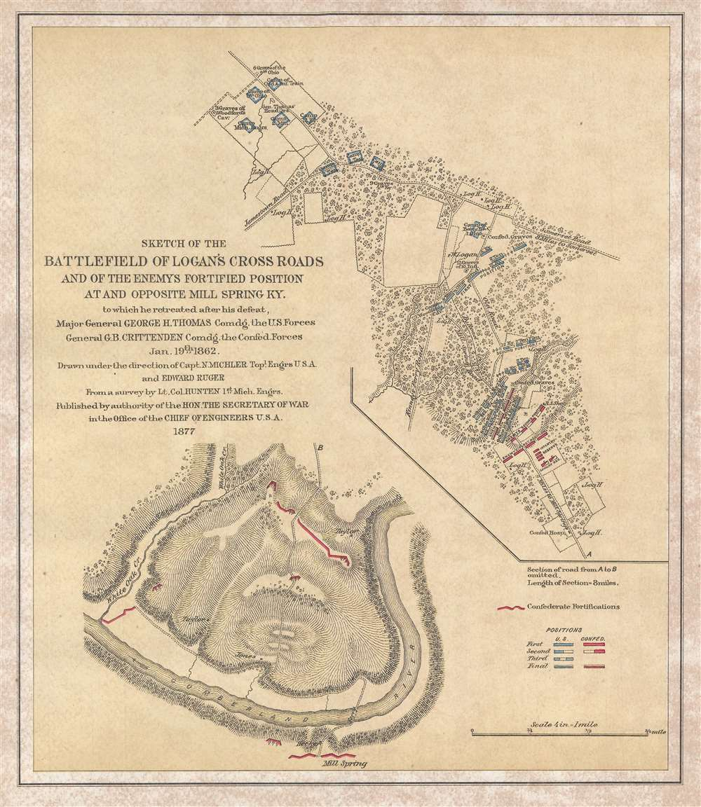 Sketch of the Battlefield of Logan's Cross Roads and of the Enemy's Fortified Position at and opposite Mill Spring, KY.