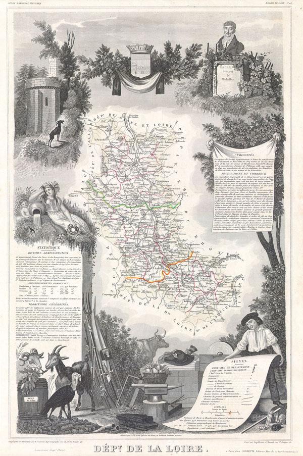 1847 Levasseur Map of the Dept. De La Loire, France
