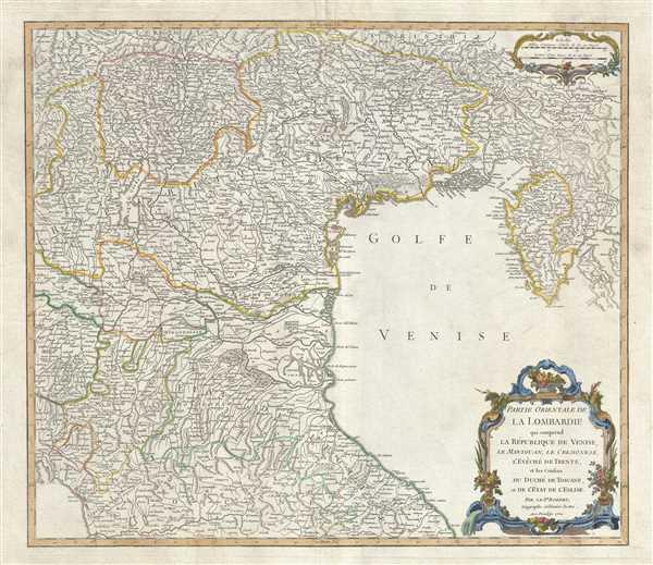 Partie Orientale de la Lombardie qui comprend la Republique de Venise, le Mantouan, le Cremonese, l'Eveche de Trente, et les confins du Duche de Toscane, et de l'Etat de l'Eglise.