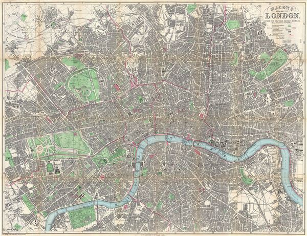 Bacon's New Map of London, Divided into Half Mile Squares & Circles.