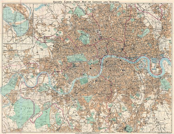 Bacon's Large-Print Map of London and Suburbs. - Main View