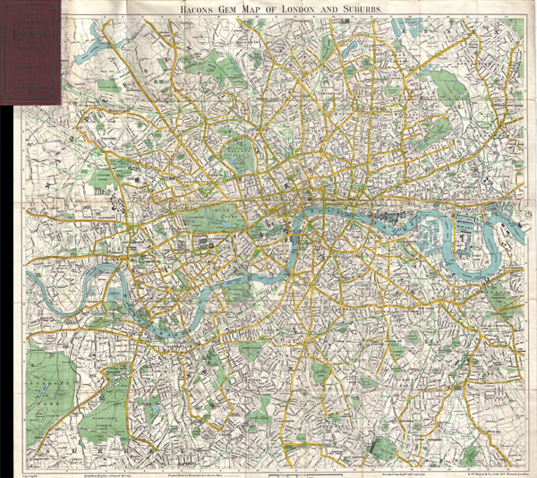 Map Of London England And Surrounding Area.Bacons Gem Map Of London And Suburbs Geographicus Rare Antique Maps
