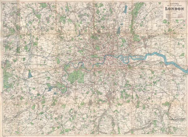 Bacon's New Map of the Environs of London. - Main View