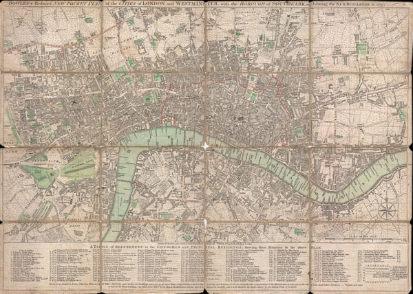 BOWLES'S Reduced NEW POCKET PLAN of the CITIES of LONDON and WESTMINSTER, with the BOROUGH of SOUTHWARK, exhibiting the NEW BUILDINGS to the YEAR 1795.