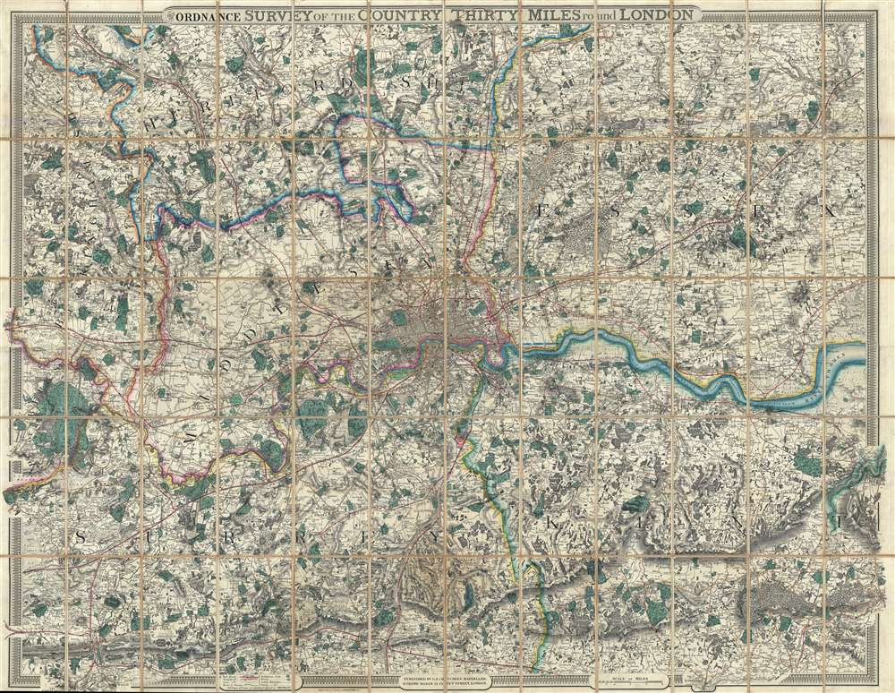 1855 Cruchley Folding Wall Map of London, England