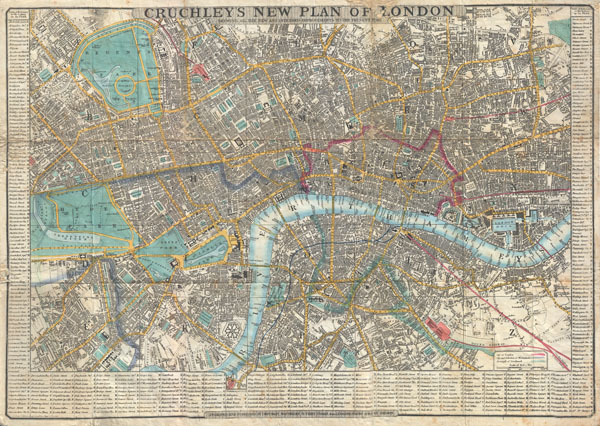 Cruchley's New Plan of London Shewing all the new and intended improvements to the Present Time. / Cruchley's Superior Map of London, with references to upwards of 500 Streets, Squares, Public Places & C. improved to 1848: with a compendium of all Place of Public Amusements also shewing the Railways & Stations. - Main View