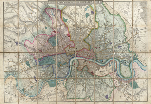 Davies's New Map of the British Metropolis, The Boundaries of the Boroughs, County Court Districts, Railways, and Modern Improvements.
