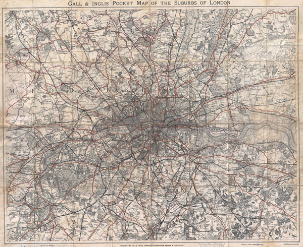 Gall & Inglis' Pocket Map of the Suburbs of London.